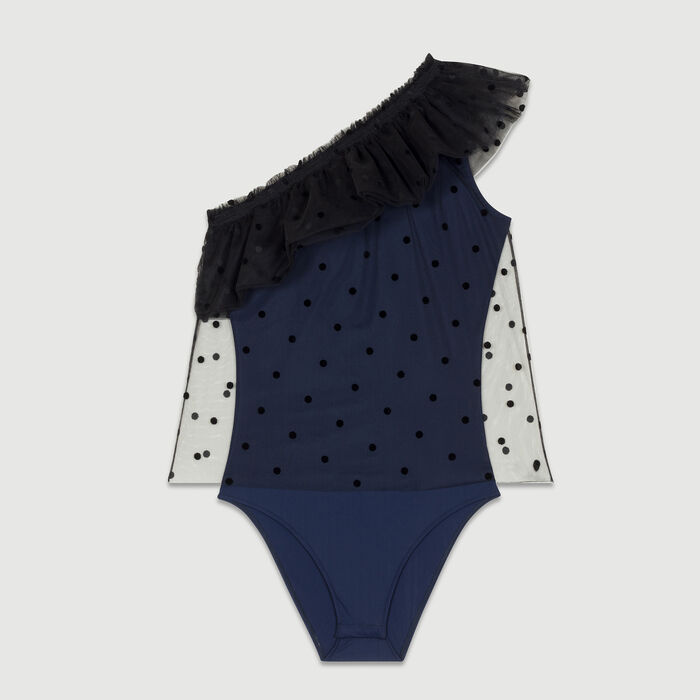 One-shoulder ruffle dot top : Tops color Navy