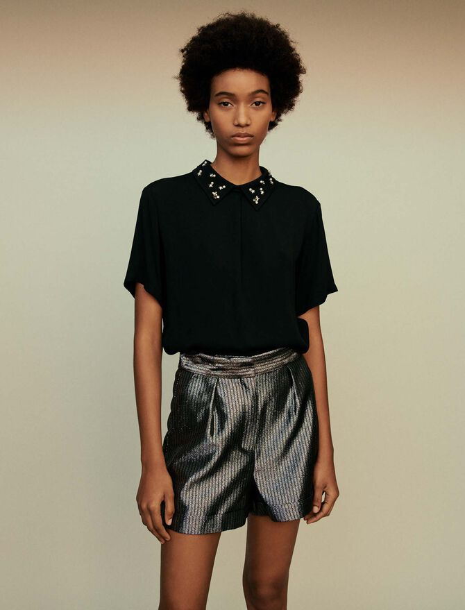 T-shirt top with embroidered collar - Tops & Shirts - MAJE