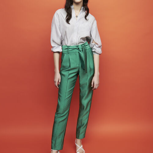 Pleated pants with belt : Trousers & Jeans color Green