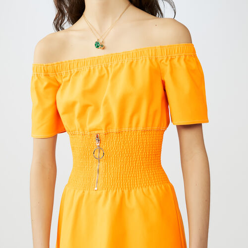 Midi dress with smocked waist : Dresses color Yellow