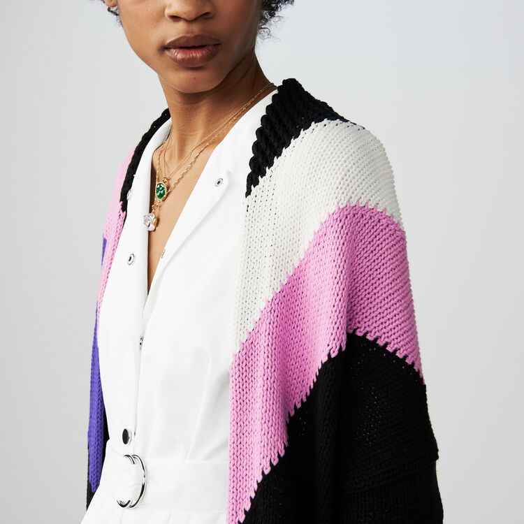 Long cardigan with details : Knitwear color Multico