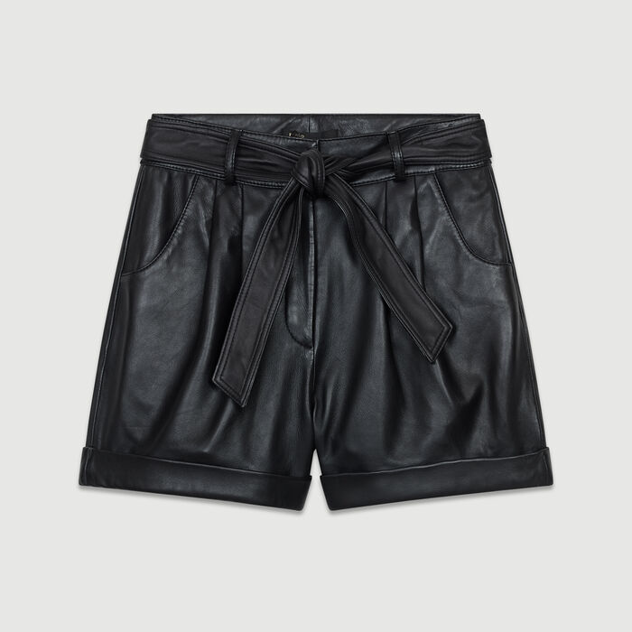 Oversized leather shorts : New Collection color Black 210