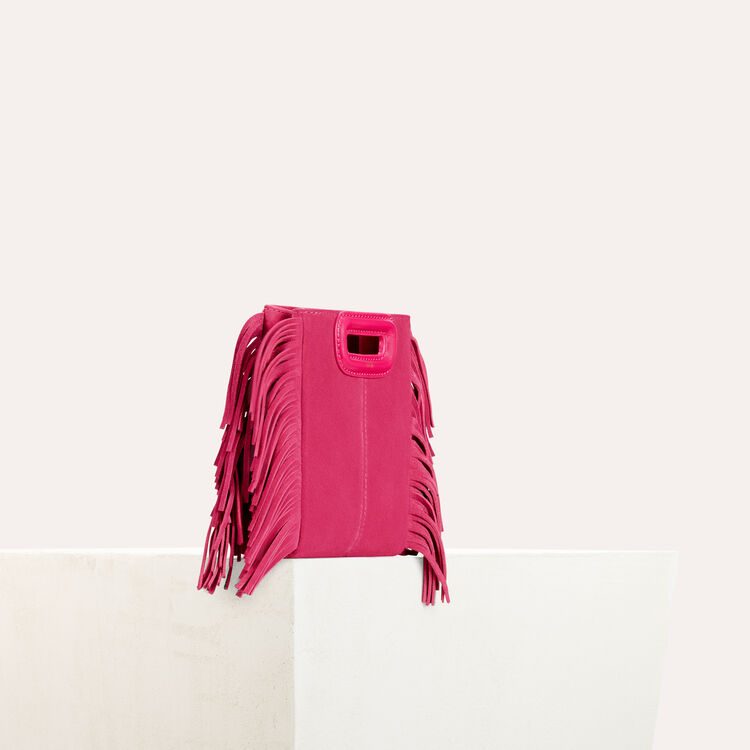 Fringed suede M minibag : M bags color Pink