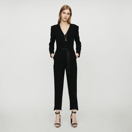 Crepe jumpsuit : Trousers color Black 210