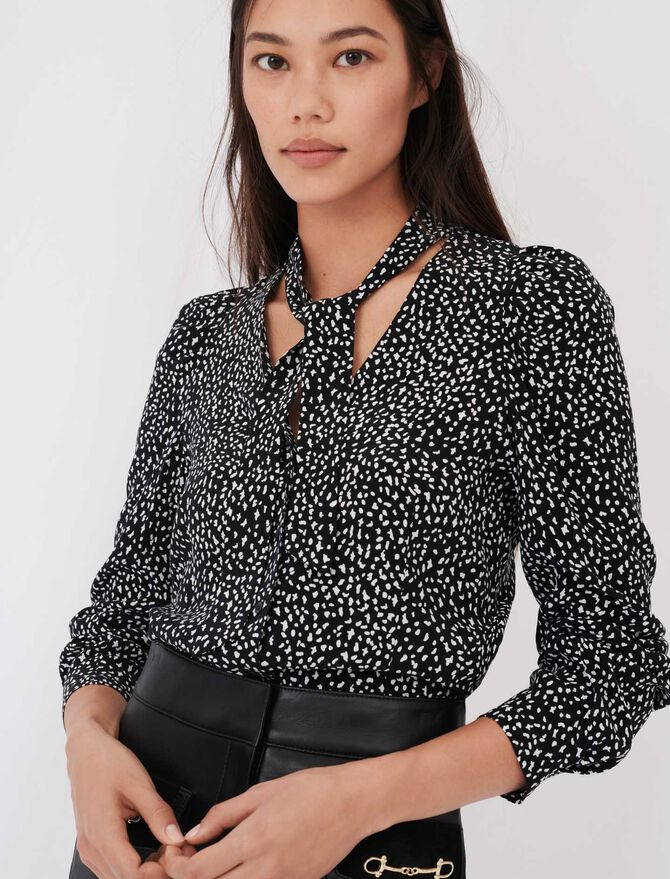 Crafted from crêpe printed shirt - tout voir - MAJE