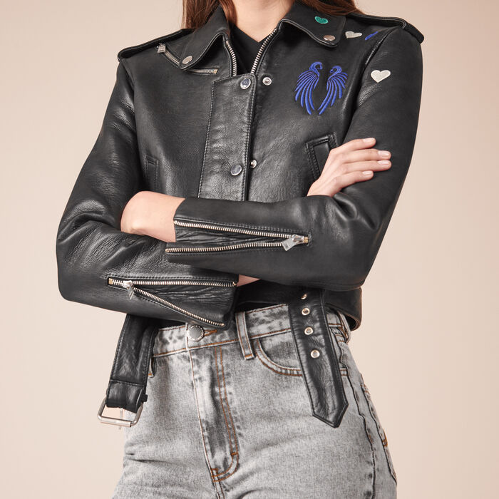 Cropped cowhide leather jacket - Jackets & Bombers - MAJE