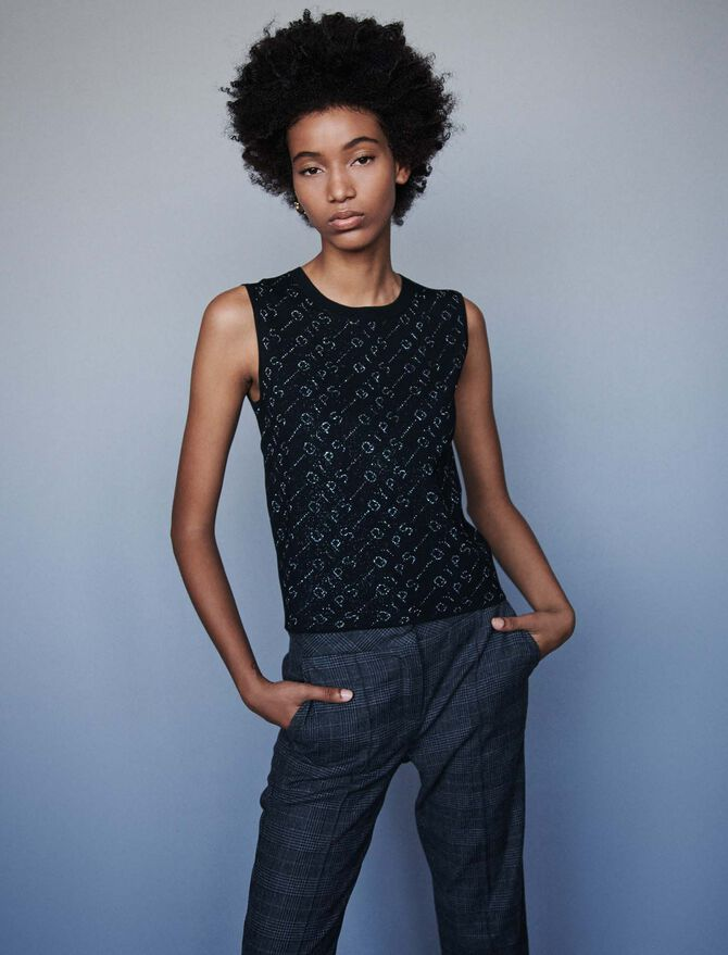 Lurex jacquard sleeveless sweater - Knitwear - MAJE