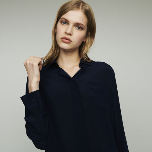 Silk shirt : Shirts color Navy