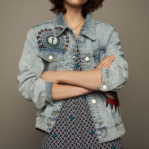 Embroidered denim vest : See all color Denim