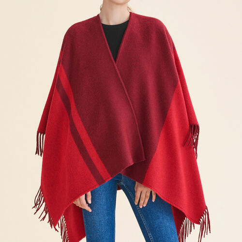 Two-tone fringed poncho : Accessories color Navy