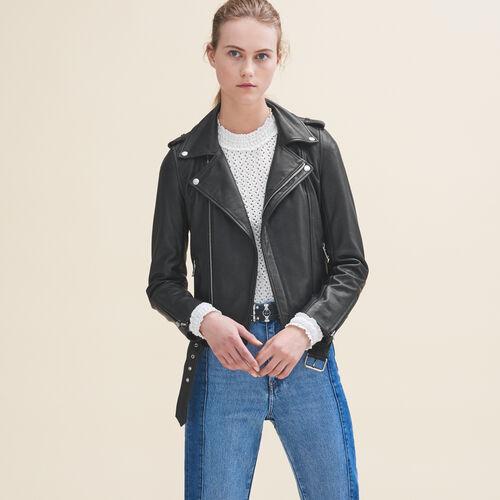 Leather jacket with belt : Jackets color Black 210
