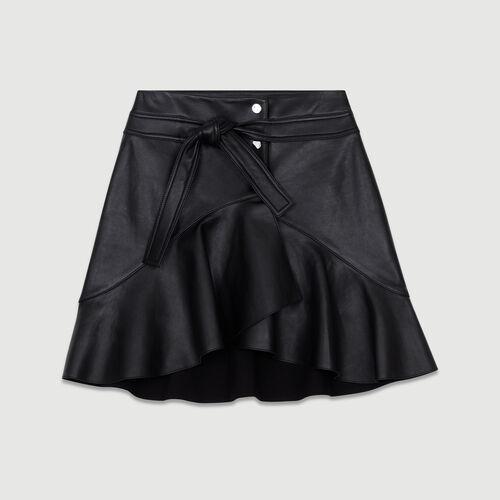 Asymmetric leather skirt : Tartan color Black 210