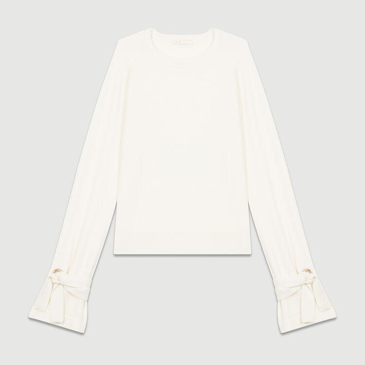 Tie-cuff fine knit sweater : Knitwear color Ecru