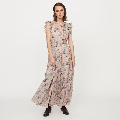 Long printed-cotton voile dress : Dresses color Nude