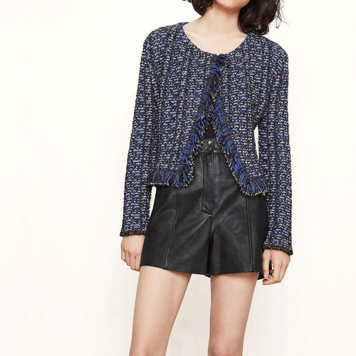 Short decorative knit cardigan : Sweaters & Cardigans color Navy