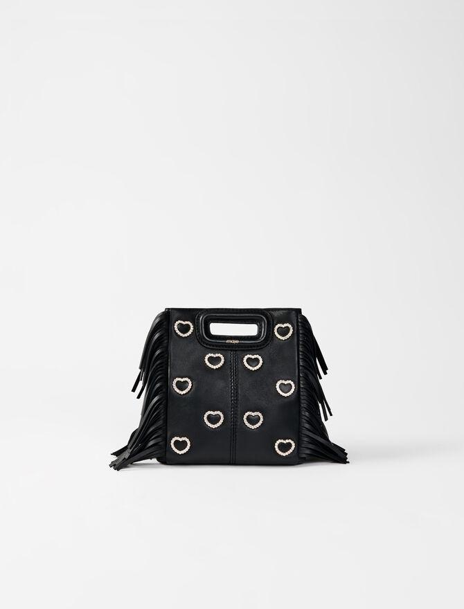 Leather mini M bag, diamanté -  - MAJE