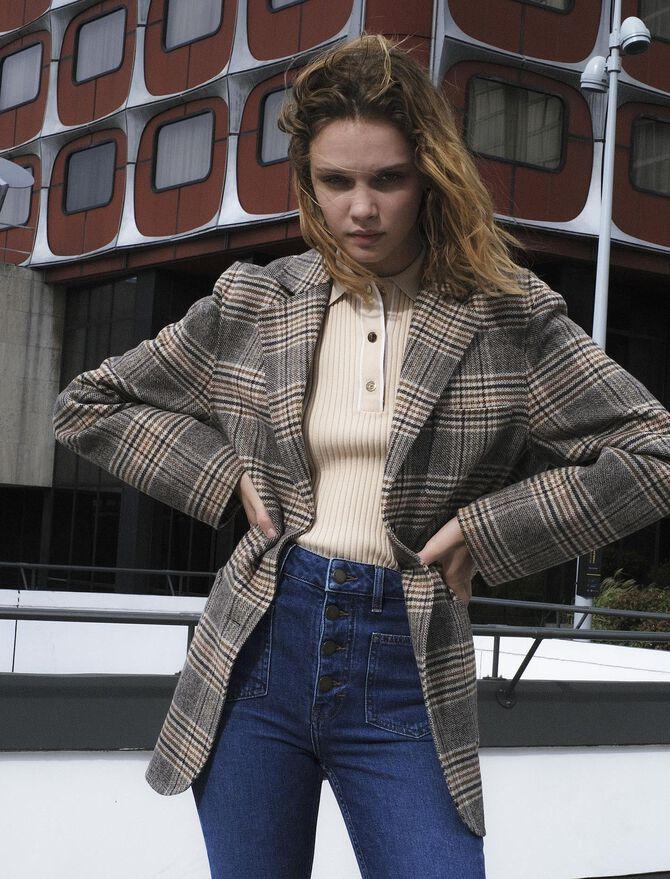 Checked jacket-style coat - Coats & Jackets - MAJE