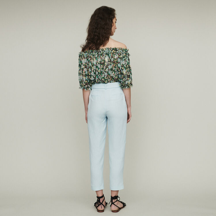 Pleated pants : Trousers & Jeans color Blue Sky