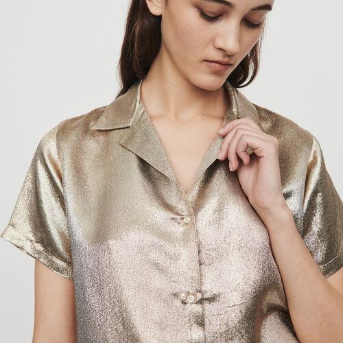 Pajama-style silk blend shirt : Shirts color Gold