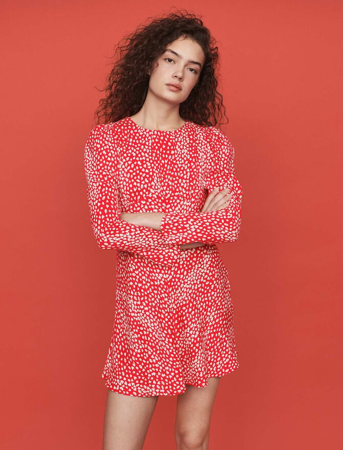 Jacquard-printed gathered dress - SoldesFR_Robes - MAJE
