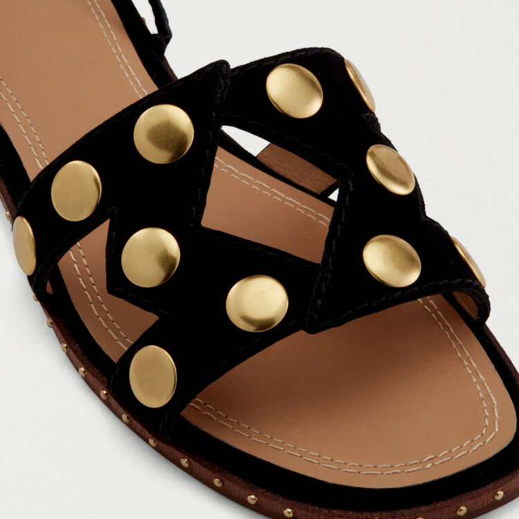 Stud suede sandals : Flat shoes color Black 210