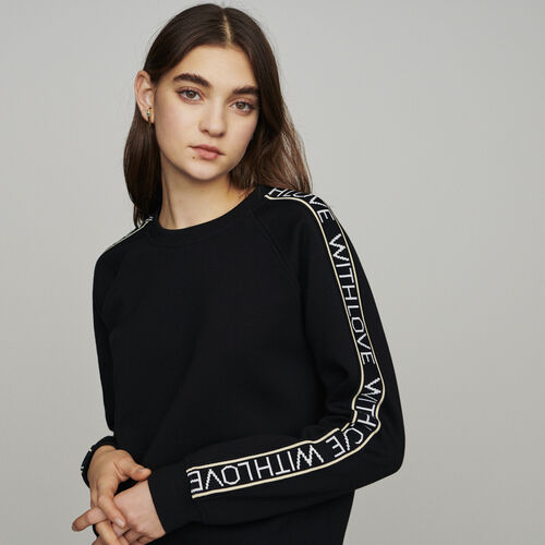 "Sweat ""With Love"" on sleeves : Knitwear color Black 210"