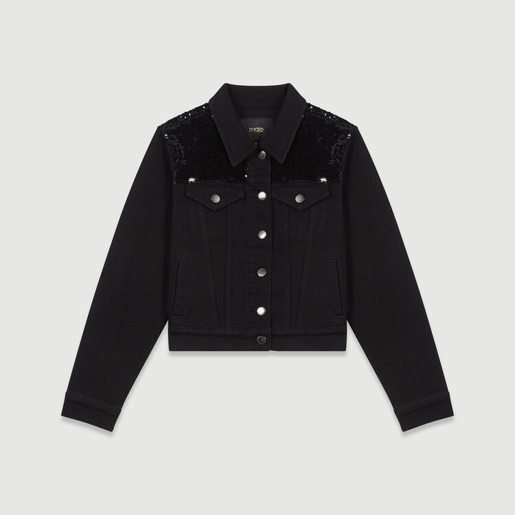 Sequin-embroidered jean jacket : Coats & Jackets color Black