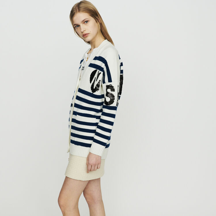 Striped cardigan embroidered : Knitwear color Ecru