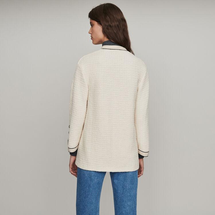 Tweed-style contrast jacket : Blazers color Ecru