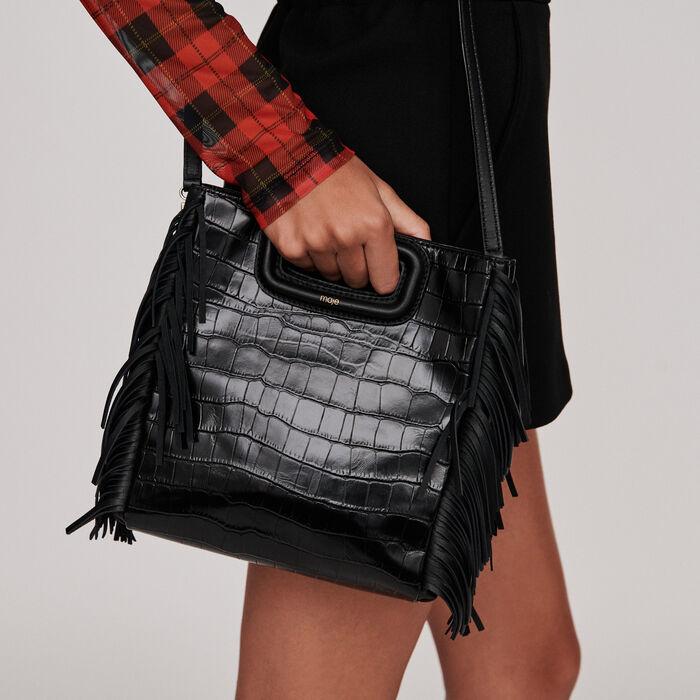Crocodile embossed-leather M bag : M bag color Black