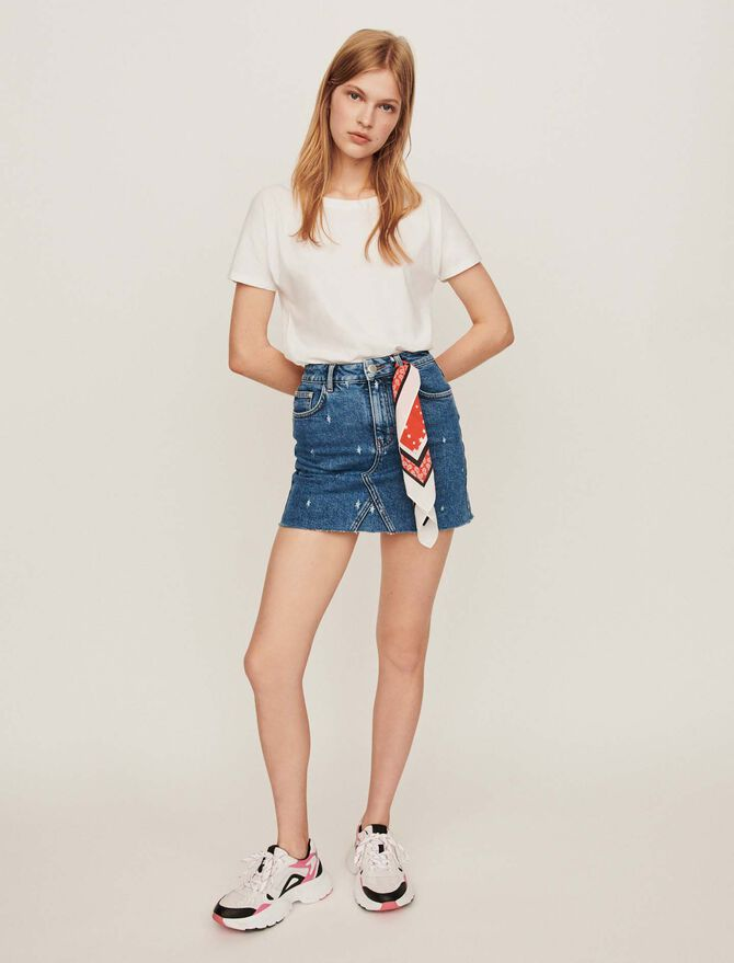 Faded straight-cut jean skirt - Skirts & Shorts - MAJE