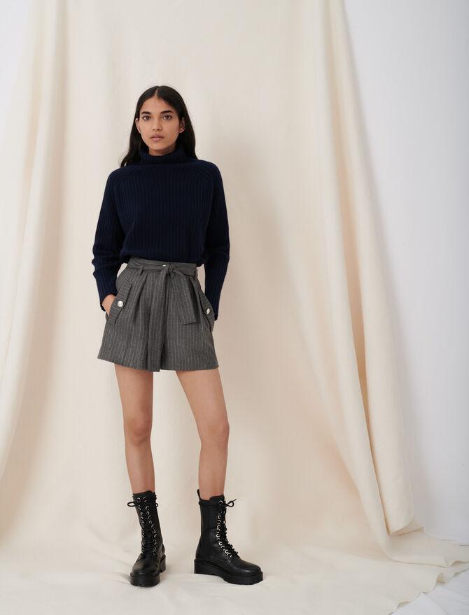 Belted tennis stripe shorts - Skirts & Shorts - MAJE