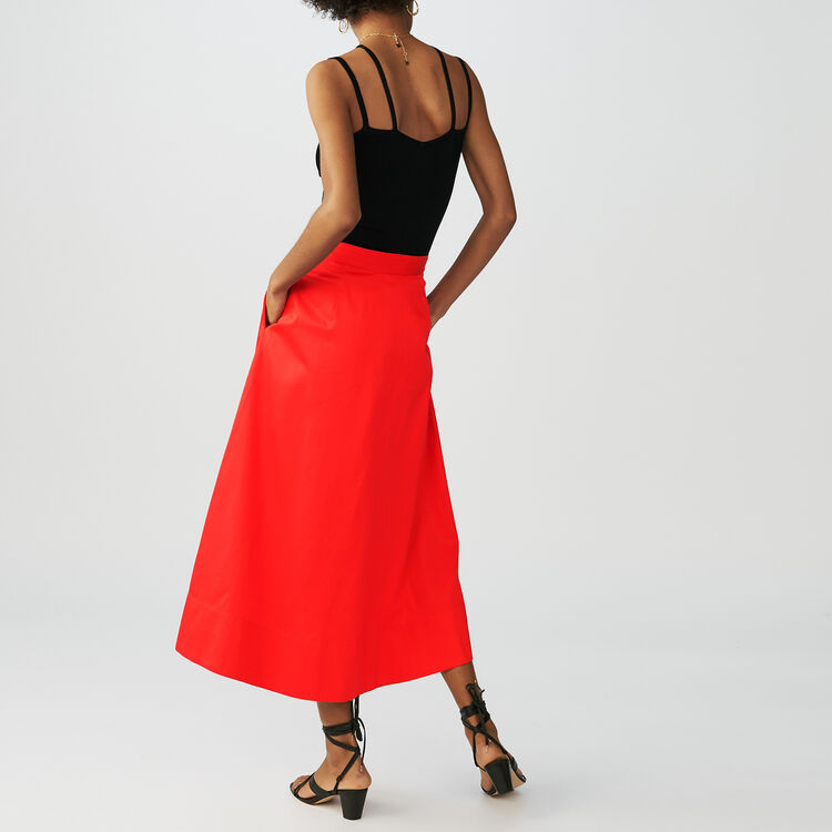 Cotton midi skirt with front poppers : Skirts & Shorts color Red