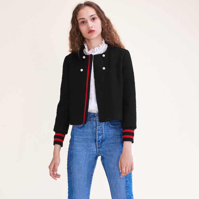 Tweed cropped jacket : Jackets & Blazers color Black 210