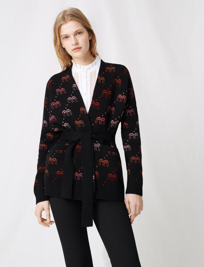 Monogrammed jacquard cardigan - Knitwear - MAJE