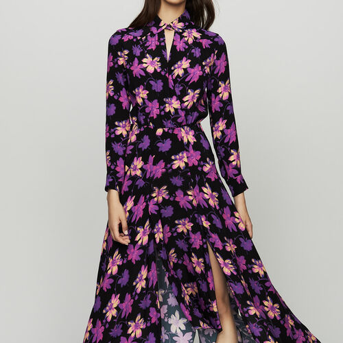 Long asymmetric dress in floral print : null color Print