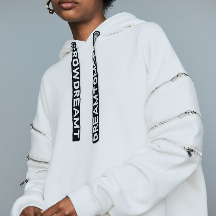 Hooded sweatshirt with zips : New Collection color White