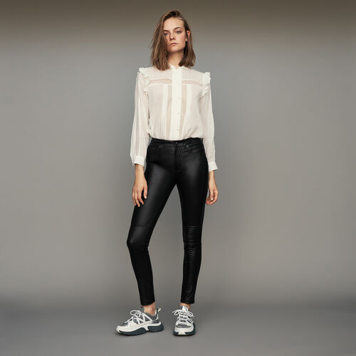 Cigarette pant in sheep leather : Trousers color Black 210