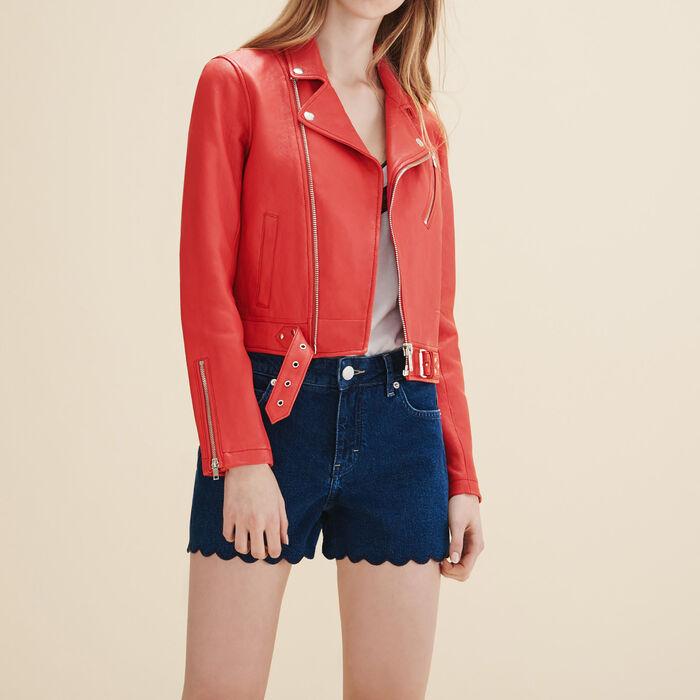 Biker-style leather jacket -  - MAJE