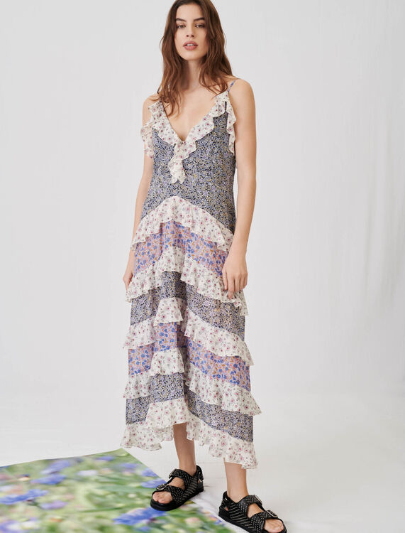 Printed cotton voile dress with ruffles - Dresses - MAJE
