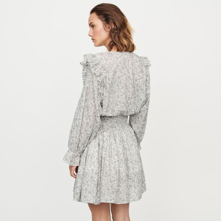 Short floral-print ruffled dress : Dresses color Grey