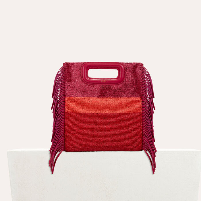Sheepskin M bag with beads : Best sellers color Raspberry