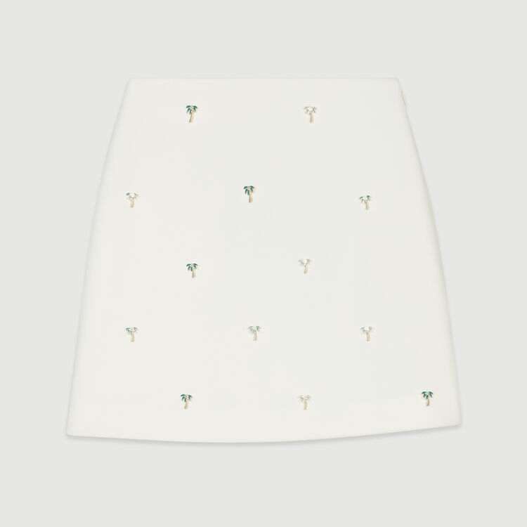 Short skirt with palm jewels : Skirts & Shorts color Ecru