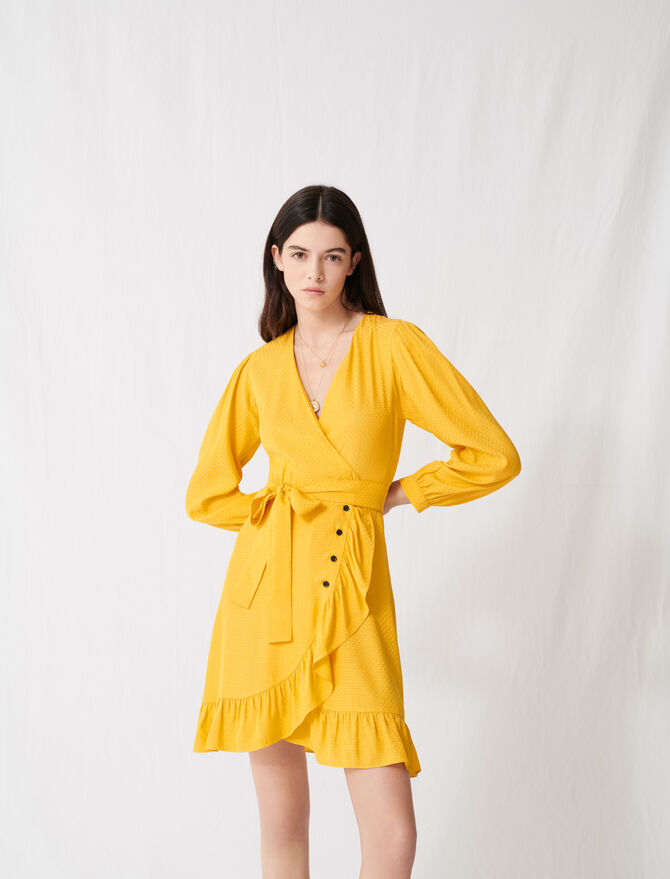 Sunny yellow wrap tie dress - Dresses - MAJE