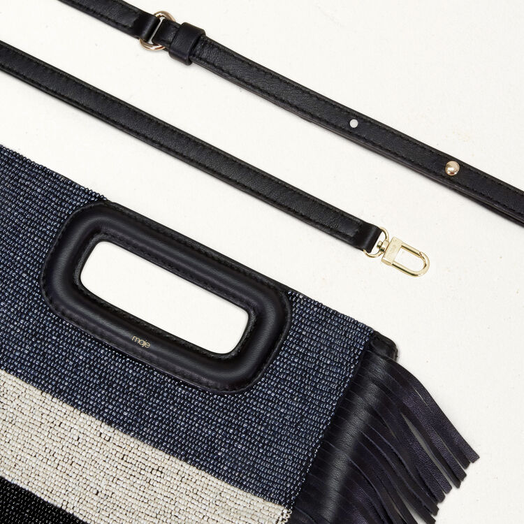 Sheepskin M bag with beads : M bags color Navy
