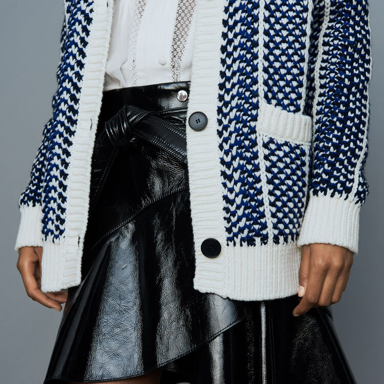 Oversize jacket in jacquard knit : New Collection color Blue