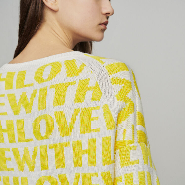 Jacquard sweater with slogan : Knitwear color Yellow