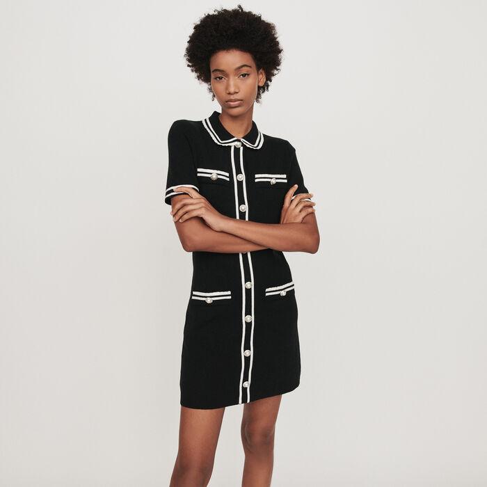 Pencil dress with jeweled trim : Dresses color Black