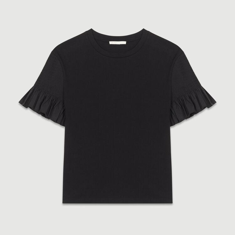 Cotton flounce t-shirt : Tops color Black 210