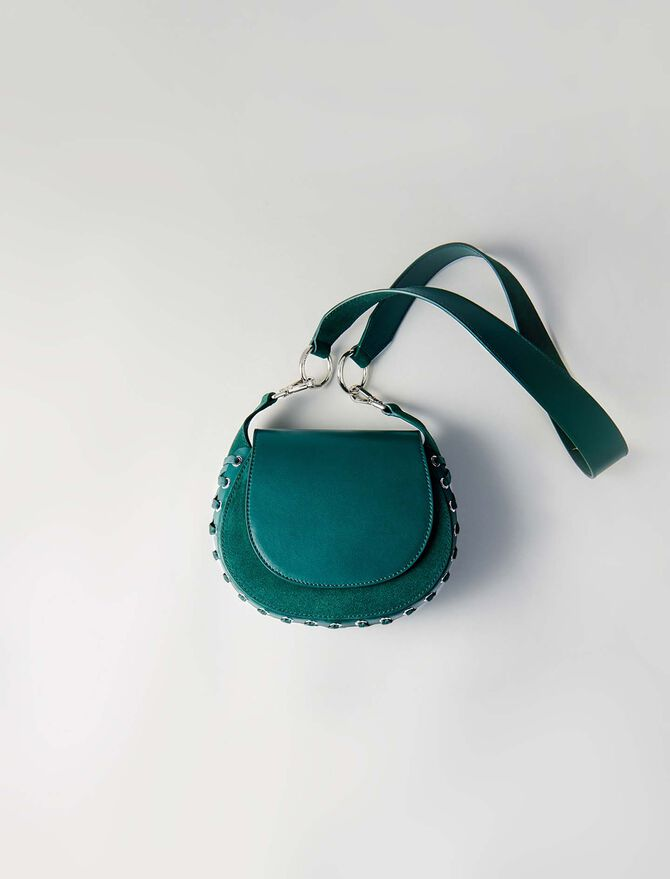 Laceup leather and suede Gyps PM handbag -  - MAJE
